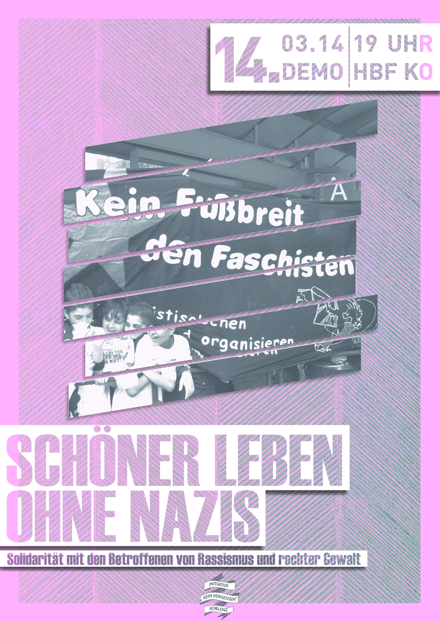 Plakat Demo Initiative Kein Vergessen 14.03.2014 Koblenz