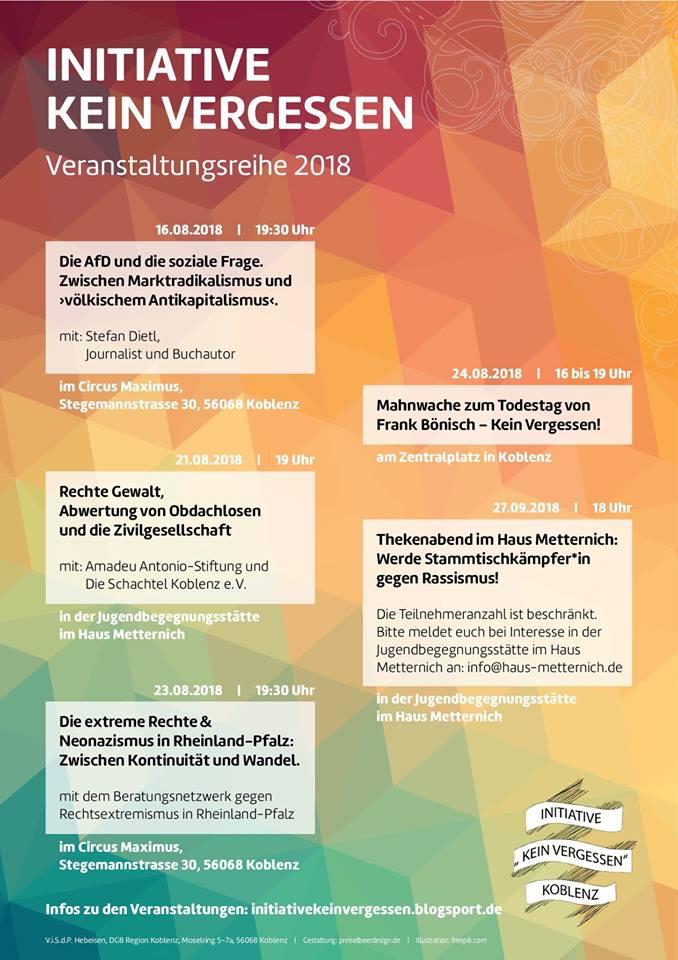 Plakat Veranstaltungsreihe Initiative Kein Vergessen Koblenz 2018