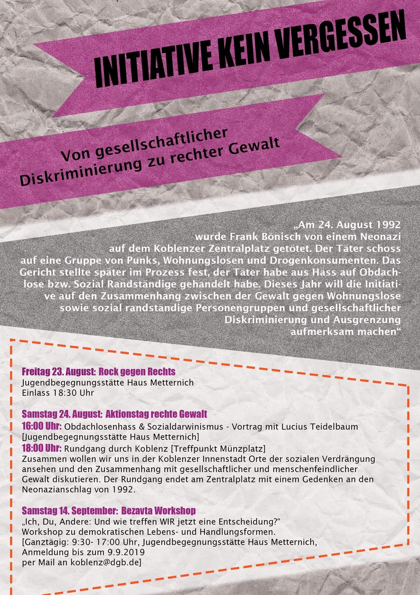 Plakat Initiative Kein Vergessen Koblenz 2019