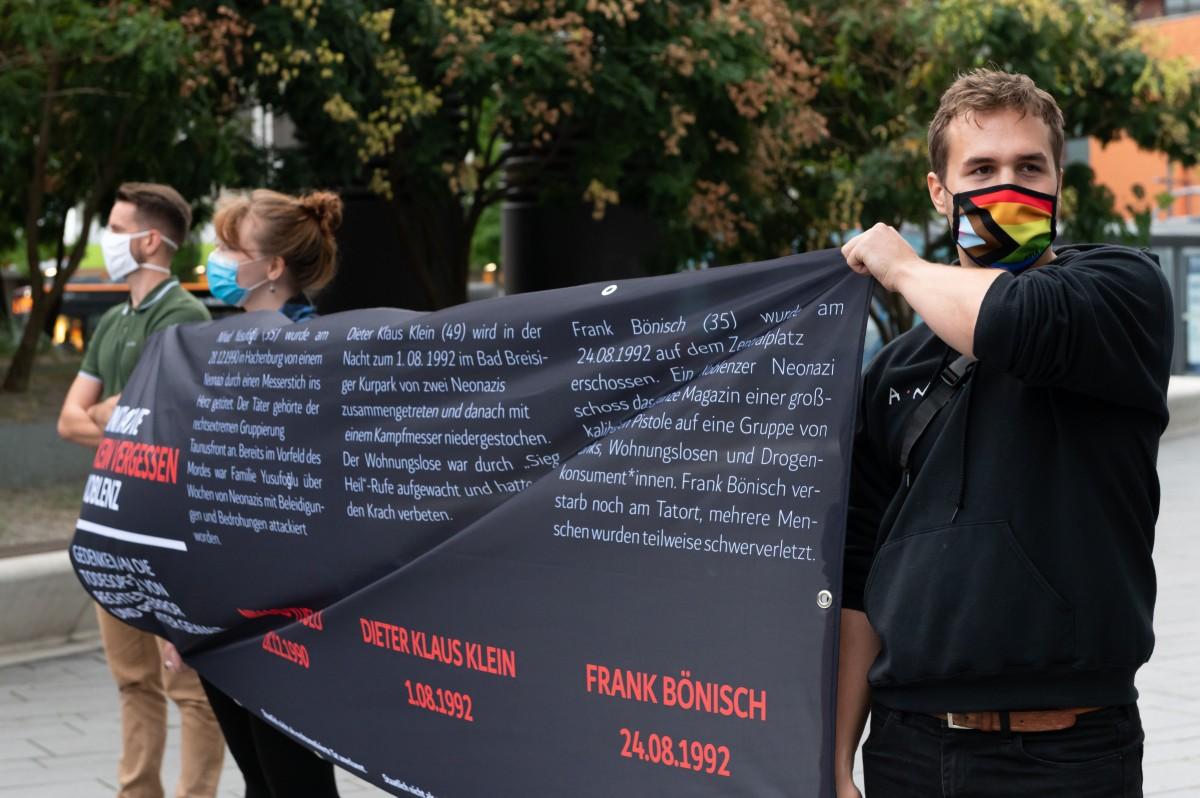 2020 Initiative Kein Vergessen Koblenz Gedenken Frank Boenisch Todesopfer rechter Gewalt Transpi