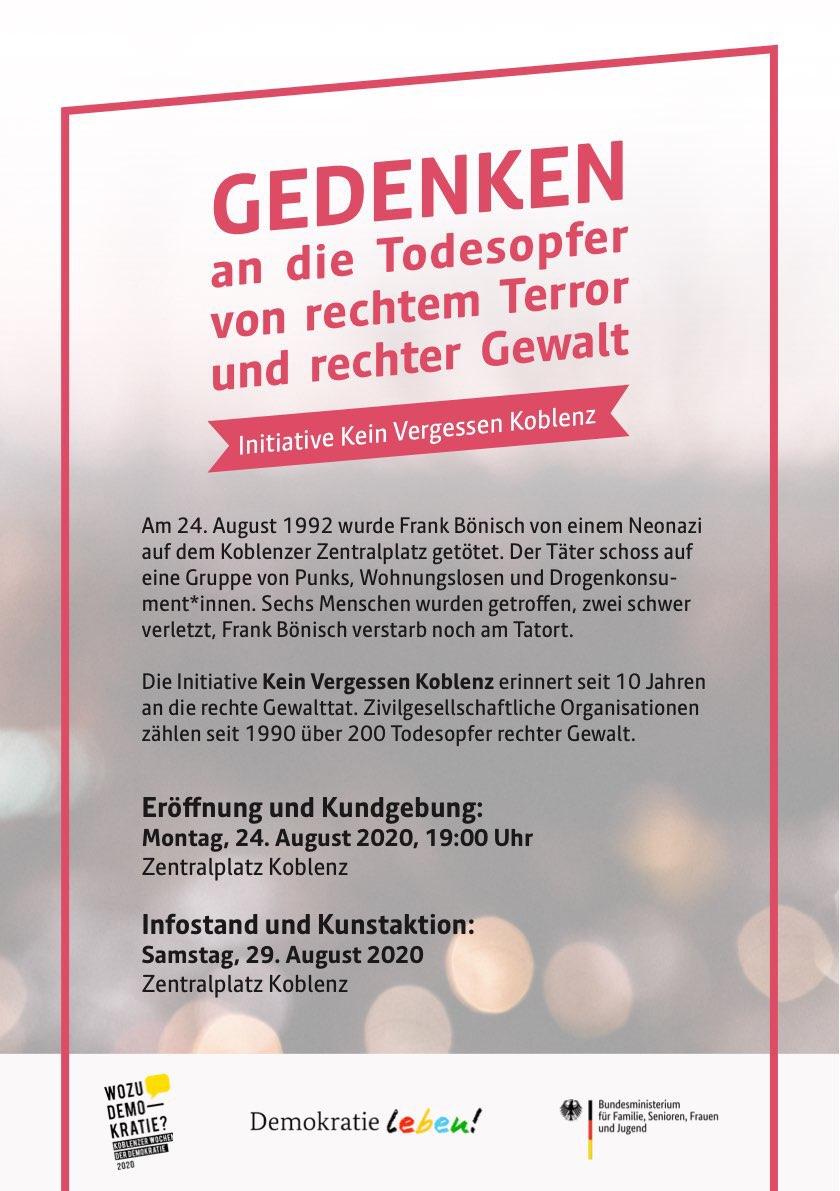 Flyer Initiative Kein Vergessen Koblenz 2020